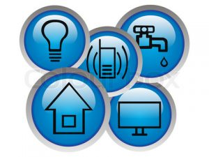 Monthly basic debts icon. Icons of light, water, phone, house a